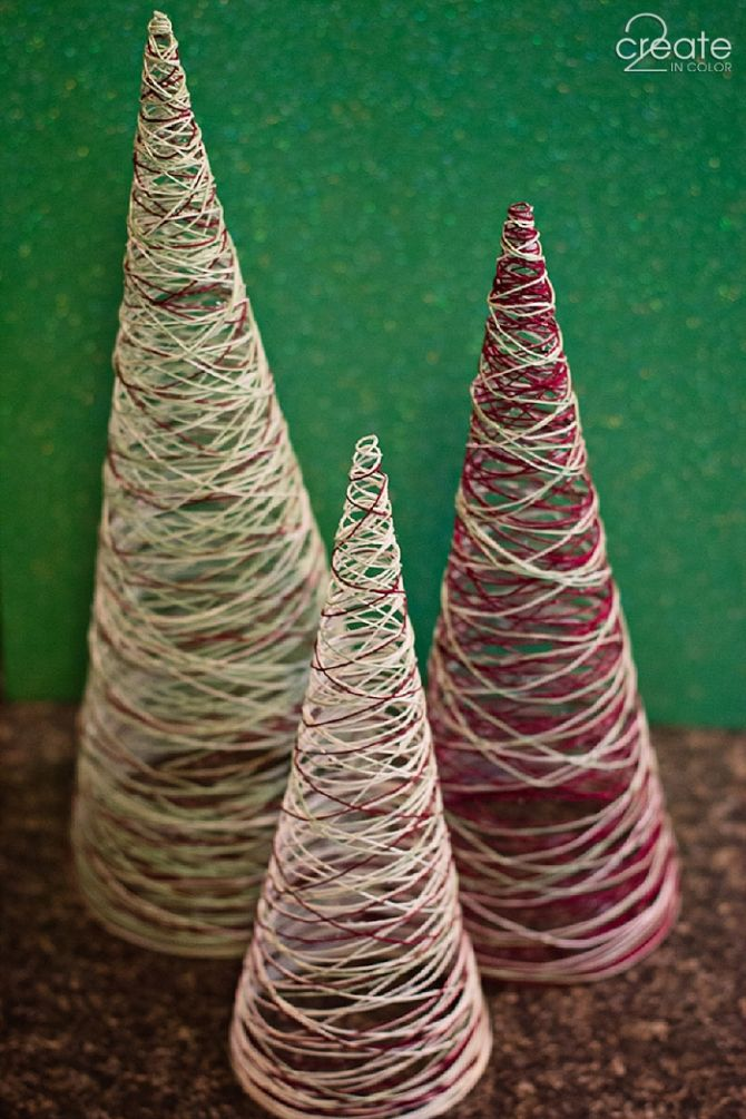 Make your own Simple Thread Christmas Trees! Cute and easy decoration!
