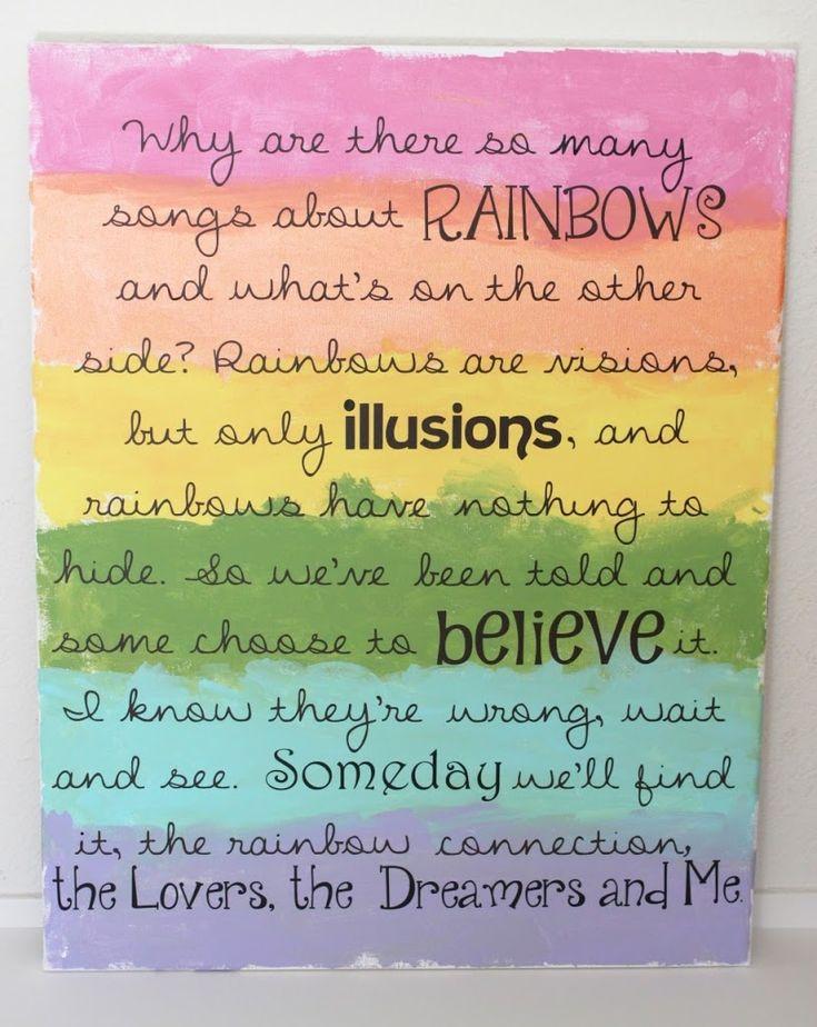 Lyric rainbow connection lyrics : 18 best Rainbow Connection images on Pinterest | Rainbow ...