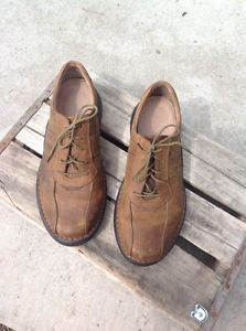 Mens Clarks Brown leather laceups Coffee Mint 9M Walking Work Shoes    eBay