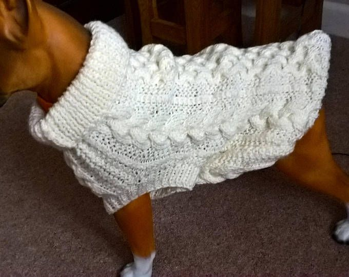 Knitted Dog Sweater, Knitted Dog Aran Jumper, Knitted Cable Dog Jumper, Aran Dog Coat, Winter Dog Coat, Cream Aran Dog Jumper