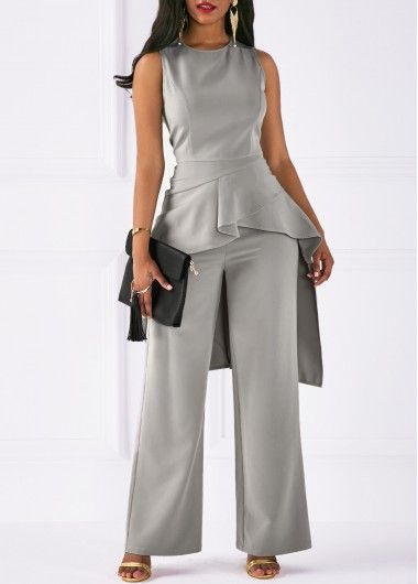 Asymmetric Hem Round Neck Top and Grey Pants on sale only US$41.05 now, a must buy for women !