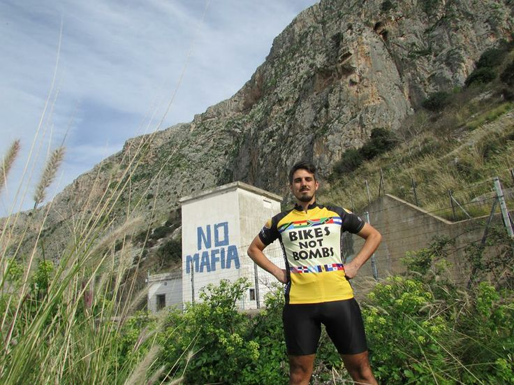 Here is picture of Edoardo Zuffato sporting a Bikes Not Bombs jersey in Sicily, Italy. Edoardo works as a bike guide, but his real passion is working for an organization called Addio Pizzo - Goodbye Mafia. The organization works to stop the violence of the mafia in Sicily.