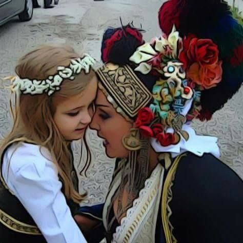 Mother and Daughter - Macedonian Traditional Dress - Historical Macedonia Greece