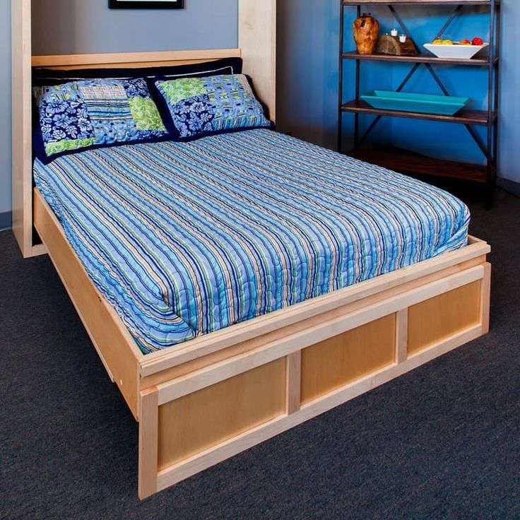 Contemporary Murphy Bed with maple wood and natural finish