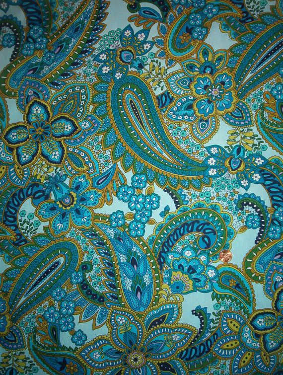 Blue and green paisley fabric  This would be a fantastic pattern to recreate in bead embroidery!