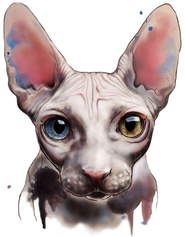 Sphinx. Watercolor and digital art by Elenn Freya.