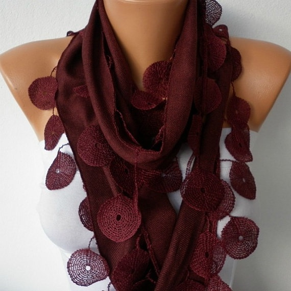Wine Scarf    Pashmina Scarf   Headband Necklace Cowl by fatwoman, $13.50