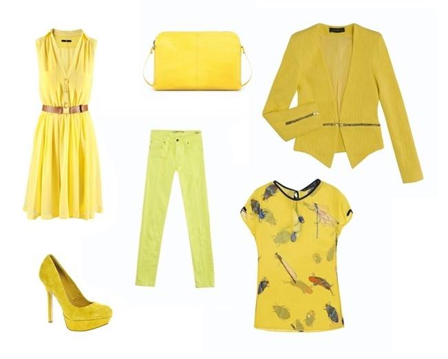 El amarillo se impone contra toda superstición. Vestido camisero (Mango), chaqueta de tweed (Zara), blusa con estampado de insectos (Zara), pantalón pitillo (Blanco), bolso (Zara) y zapatos de tacón (Asos). #look #outfit #springsummer2012