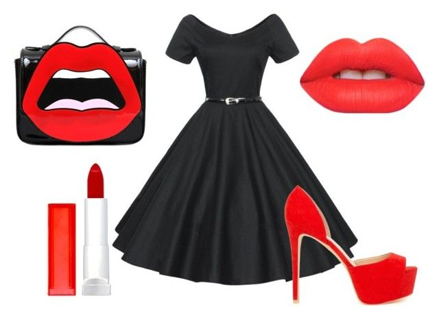retro by dianka-donutek-jasanska on Polyvore featuring Nly Shoes, Yazbukey, Lime Crime and Maybelline