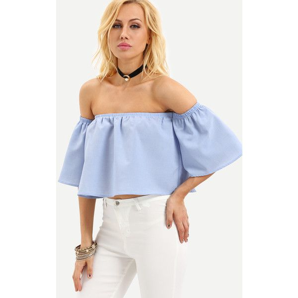 SheIn(sheinside) Blue Off The Shoulder Bell Sleeve Crop Blouse (35 ILS) ❤ liked on Polyvore featuring tops, blouses, blue, blue off the shoulder top, off the shoulder crop top, crop top, off the shoulder blouse and off shoulder tops