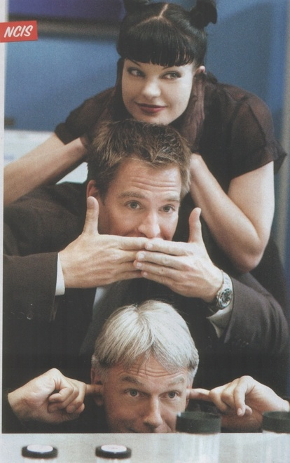 Pauley Perrette, Michael Weatherly, and Mark Harmon