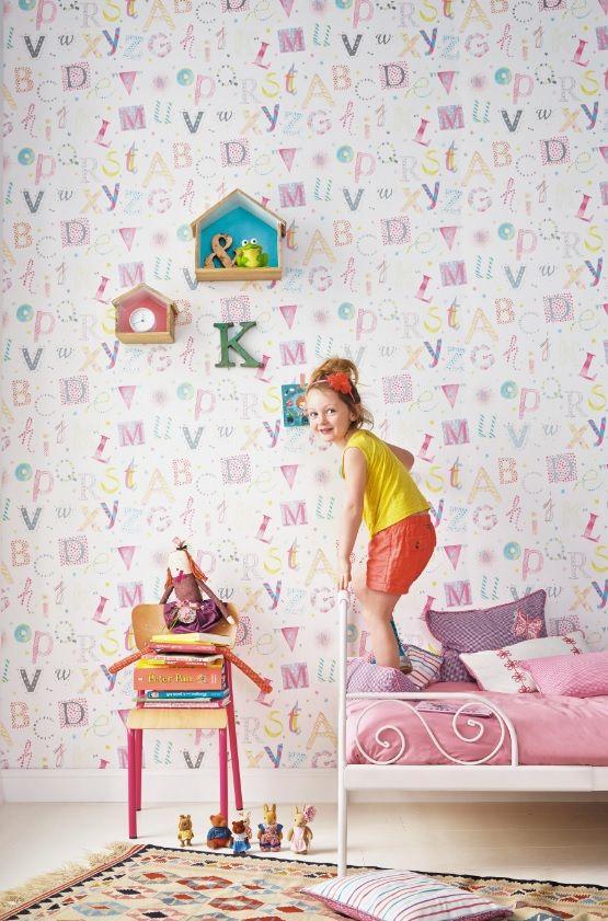 Papel pintado letras en tonos rosas fucsias y azules - Papel pintado letras ...