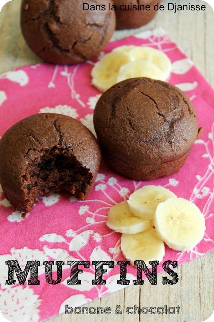 Muffins chocolat-banane, sans gluten, sans soja {cuisine végétalienne}