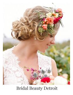 Wedding Hairstyles with Flowers ~ Romantic updo with dramatic flower hair wreath by Bridal Beauty Detroit