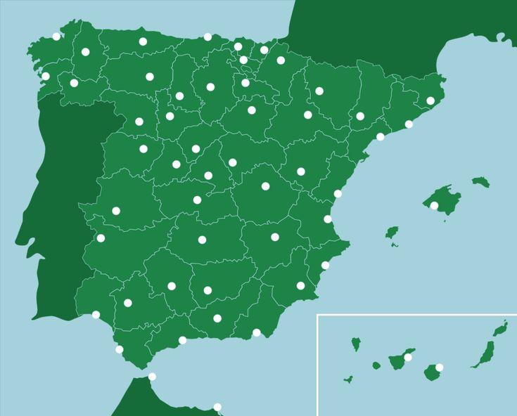 España: Provincias, Capitales - Juego de Mapas de geografía, que te enseñará a ubicar ciudades de España a través de los mapas.