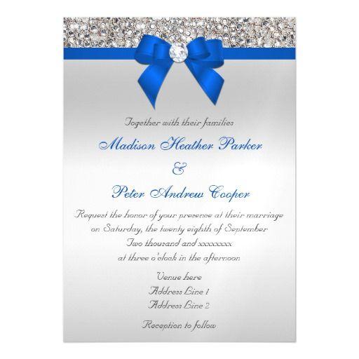 Faux Silver Sequins Diamonds Cobalt Blue Wedding Magnetic Card