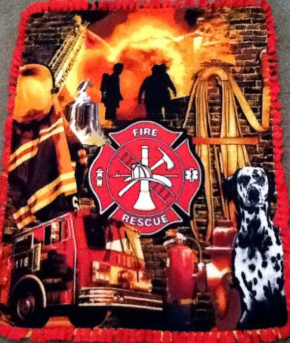 Fire Rescue fleece tie blanket reversible by Simpleesweetboutique