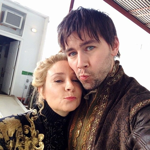 Torrance Coombs (Bash) and Megan Follows (Catherine) behind the scenes of Reign