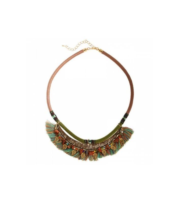 Gekleurde korte halsketting met kleurrijke franjes|Korte halsketting koop je online|Snelle verzending
