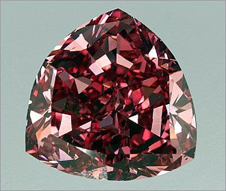 "The Moussaieff Red Diamond. The largest red diamond (the rarest color of diamond) in history. In the rough, it is believed to have weighed 13.9 carats. The diamond was purchased and cut by the William Goldberg Diamond Corp., where it went by its original name the ""Red Shield."""