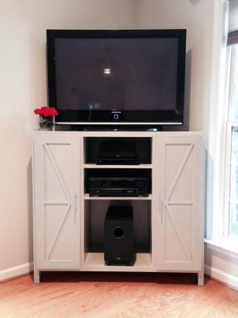 Tall Corner Media Console-Barn Door Twist | Do It Yourself Home Projects from Ana White