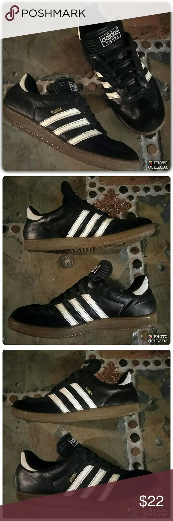 Kids Indoor Soccer Shoes There's a reason this legendary indoor shoe still sells like mad. Perfection never goes out of style.  Size:      6 K Soft leather upper  Low-profile gum rubber outsole Black with white accents Barely worn Excellent condition adidas Shoes Sneakers