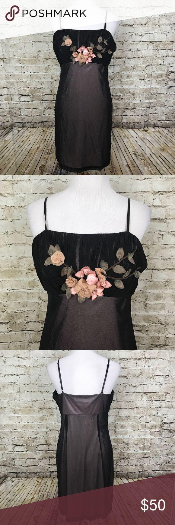 "Studios W by Sue Wong Size 12 Dress Sheer Bodycon Studios W by Sue Wong Size 12 Dress Sheer Bodycon Black Floral Applique Nylon  36"" shoulder to hem and 18"" armpit to armpit Sue Wong Dresses"