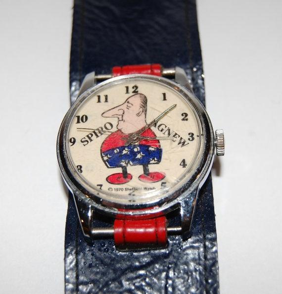 1970s Spiro Agnew Watch, Kreisler Watchband, Blue & Red