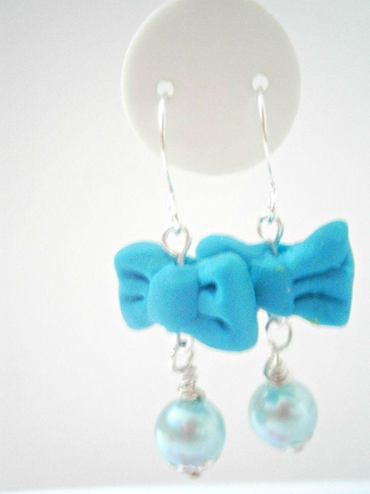 Blue Bow Earrings - Kawaii Earring - Pastel Jewellery - Polymer Clay Jewelry -Dangle Pearl Earring - Cute Jewelry - Bow Tie Earing by DazzlePinkJewelry on Etsy