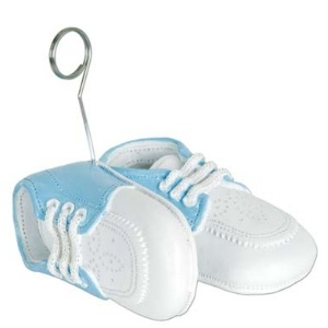 Baby Shoes Photo Holder and Balloon Weight Blue