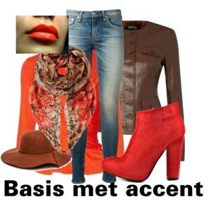"""Basis met accentkleuren in warme tinten"" by antoinette-styling on Polyvore"