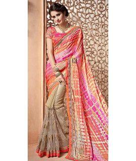 Excellent Pink And Multi-Color Chiffon Designer Saree.