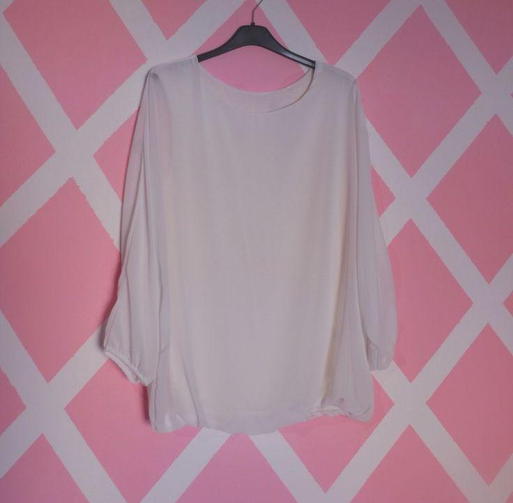 Nuova elegante blusa bianca maglia manica pipistrello chiffon donna