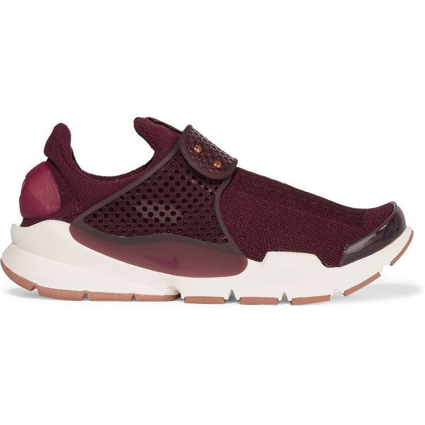 Nike Sock Dart knitted sneakers ($130) ❤ liked on Polyvore featuring shoes, sneakers, burgundy, strap shoes, nike trainers, burgundy sneakers, adjustable strap shoes and adjustable shoes