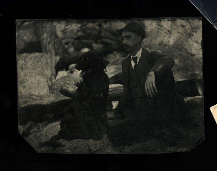 TWO Antique Outdoor Tintype Photos - Men with their Dogs! | eBay