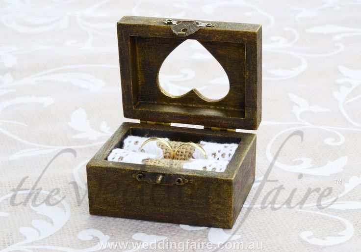 Made to Order - Antique Finish Heart Window Rustic Ring Box - Burlap & Lace Insert - The Wedding Faire