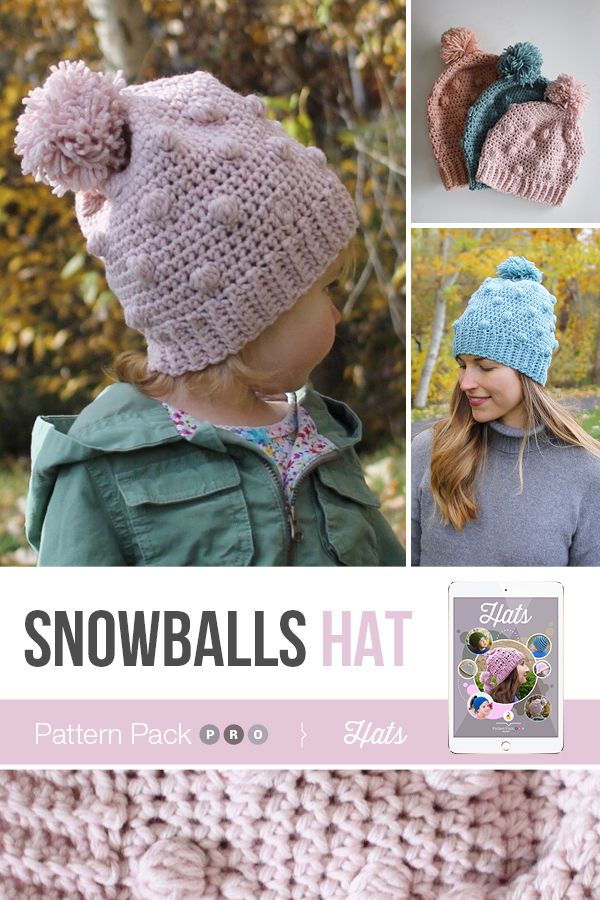 0861a68164d Crochet the beautiful Snowballs Hat by Little Monkeys Designs inside  Happily Hooked Magazine s new Pattern Pack Pro!