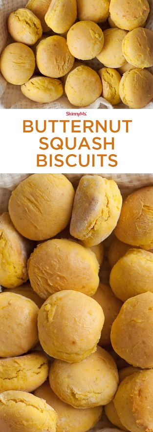 Our Butternut Squash Biscuits are just as irresistible as your traditional homemade biscuit but more interesting and nutritious! #thanksgiving #cleaneating #skinnyms