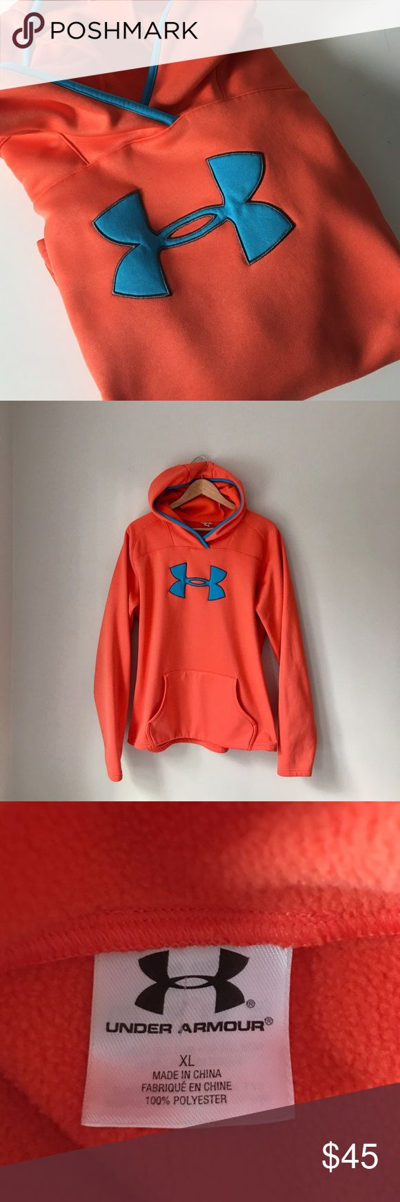 Under Armour Orange Hoodie Under Armour Orange/blue hoodie. Fleece lined interior. Size XL. Great condition. Under Armour Tops Sweatshirts & Hoodies