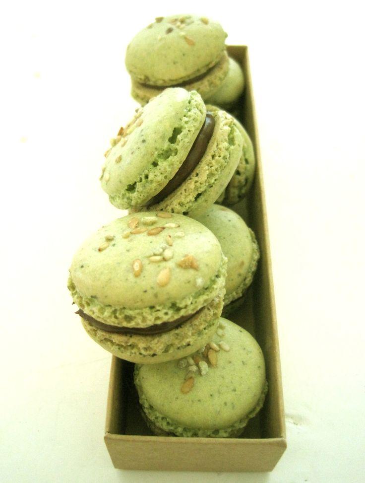 Sesame, Flax, Sunflower, Pumpkin Seeds & Green Tea Macarons with Chocolate Ganache