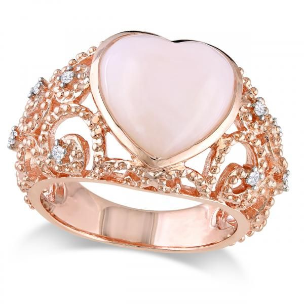 Fine Jewelry Womens Diamond Accent Pink Opal 14K Gold Cocktail Ring NNKeETueWq