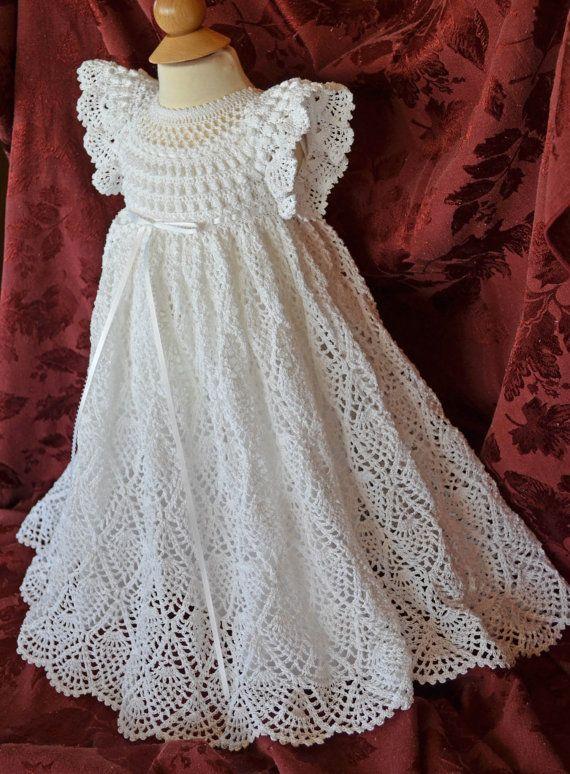 Bautizo blanco / bendición vestido con el por CherryHillCrochet