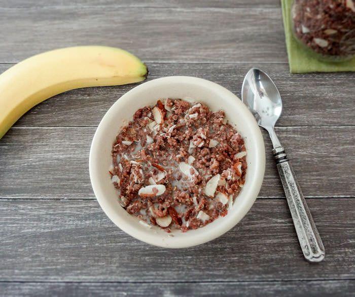 super-rich chocolate peanut butter coconut quinoa cereal