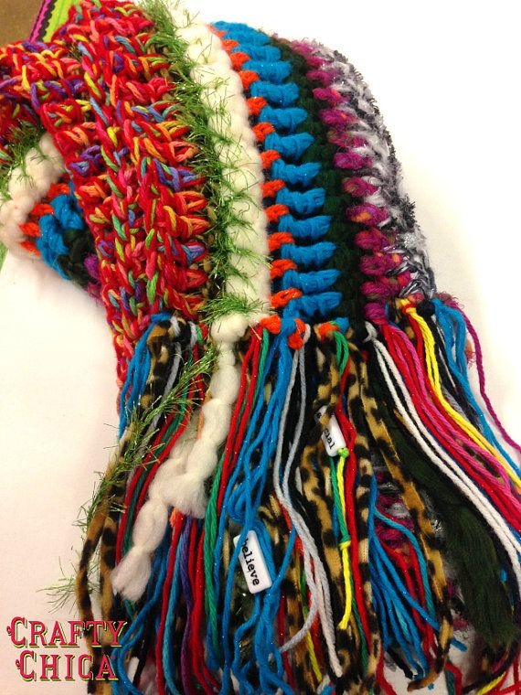 Yarn Collage Scarf.  Crochet.  Love that she adds beads and fabric strips to the fringe.  I have to make one of these!