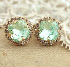 So pretty. Clear Mint green seafoam Crystal stud Petite vintage by iloniti, $43.00