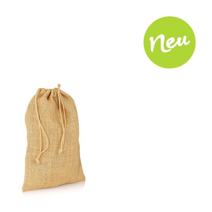 Kleines Jutesäckchen mit jutefarbener Baumwollkordel zum Zuziehen. Größe 13x18cm. Aus Jute natur.