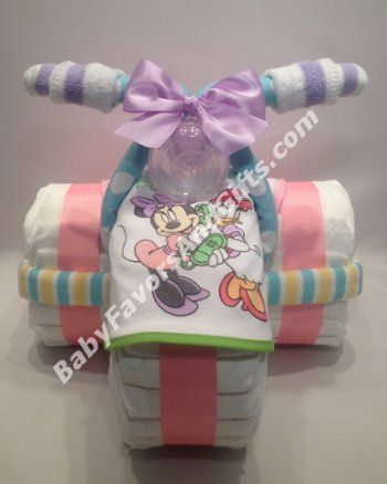 Minnie Mouse Tricycle Diaper Cake #babyshowergifts