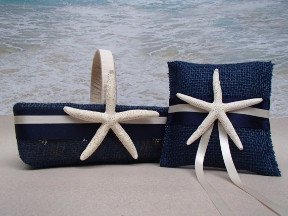CLOSEOUT Blue Starfish Basket & Pillow Nautical by ParadiseBridal