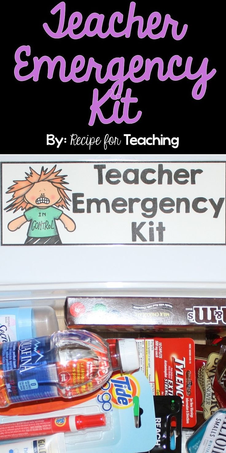 Teacher Emergency Kit!  Includes a FREE label to create your own kit for the favorite teacher in your life!