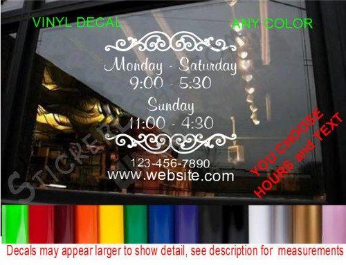 STORE HOURS CuStOm Window Decal Business Shop Storefront Vinyl - Custom vinyl decals for business
